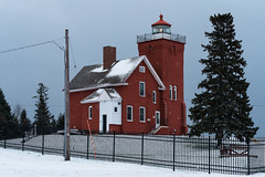Two Harbors Light Station 20181111-DSC01100 (Rocks and Waters) Tags: greatlakes lakesuperior minnesota nationalregisterofhistoricplaces northshore tree twoharbors twoharborslighthouse a7r2 fence red snow sony winter