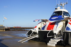 Isle of Wight UK  |  2018 (keithwilde152) Tags: br island line cl483 isle wight uk 2018 hovercraft gh2161 flyer ryde esplanade pier hoverport passenger train outdoor autumn sun coast