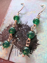 green onyx recycled sterling silver earrings 1 (msficklemedia) Tags: handforged artisanjewelry handcrafted earrings recycledmetal stone beads sterling silver missficklemedia