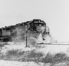 Snowbank (Defective Defects) Tags: railroad railway train emd gp382 locomotive snow snowstorm murdockil blackandwhite monochrome photography ruralscene watco