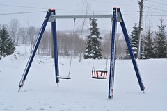 Playground (Karolina Wasylyk) Tags: winter snow playground swing park play equipment children white cold fun outdoors tripod outdoor sky nature isolated blue metal empty swings child seat mountain