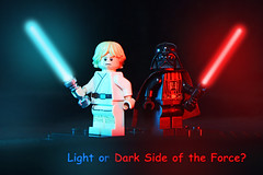 LEGO Star Wars - Luke Skywalker and Darth Vader (40gOingOn4!) Tags: lego star wars luke skywalker jedi darth vader sith lord night lightsaber blue red minifigure minifigures toys toy macro uk nikon d7100 105mm rob robert trevissmith