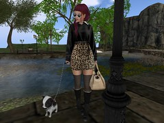 Sur Mer (Tympany) Tags: maitreya laq rina bento mesh avatar blog beautiful fluxsurmer sim pixel virtual mbirdie skirt animalprint sweater mooslook rkkn avalon boots black siamese chi chihuahua chichi spot spike puppy dog cat kitty pets animals leash walkingthedog walking water pond river pool france europe village european handbag alchemy birdy epiphany vibes glasses shades olqinu stayweird odd unique kokolores tilda redhead redhair auburn female woman fashion leather knits wool stockings socks combatboots trees bench streetlamp nanika felice sunglasses