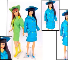BARBIE IN HER NEW 'JE!' (ModBarbieLover) Tags: thomas crown affair 1967 1968 barbie mod doll fashion turquoise yellow aline suit mini hat movie faye dunaway inspiration green mattel style