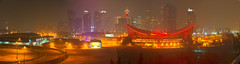 one smokey evening (IONclad Photo) Tags: calgary alberta canada ionclad photography panos panorama night evening foggy smoke smokey saddledome cityscape hdri hdr
