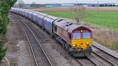 BioBarn (JohnGreyTurner) Tags: br rail uk railway train transport 66 class66 diesel engine locomotive lincolnshire freight hoppers db dbs dbc ews shed newbarnetby
