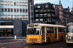 Leyland Panther no. UVK507G, early/mid-1970s [slide 7416] (graeme9022) Tags: tyneside pte passenger transport executive tyne wear local bus service yellow white alexander body uk north east england northern eastern city centre corporation