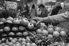 A good harvest (Andrea Rizzi Esk) Tags: onion fruit vegetables market commercial barcelona catalunia spain people street urban city person black white bw