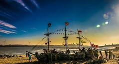 Black Pearl (Tony Shertila) Tags: england architecture beach blackpearl britain europe lighthouse mermaid merseyside rivermersey shipstructure wirral ©2018tonysherratt unitedkingdom 20181118123932wirralnewbrightonlr dawn sky ship installation art