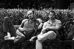 Two men on a bench in Stockholm, Sweden 14/7 2014. (photoola) Tags: stockholm södermalm street bänk sv photoola monochrome blackandwhite sweden