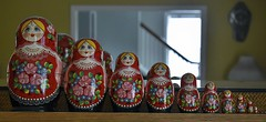 Photo#365-Matryoshka Babushka (☼☼Jo Zimny Photos☼☼) Tags: 365the2018edition matryoshkababushka nestingdolls russian ten inaline onthemantle wood colourful female blond flowers 3652018 day364365 30dec18 theflickrlounge new