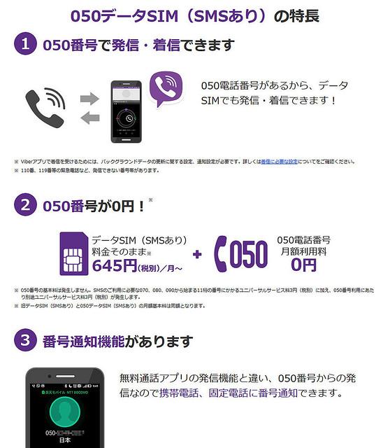 楽天モバイルの050データSIM(SMSあり)プランの特徴