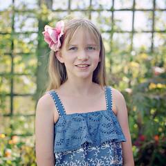Rebecca, September 2018 (Paul of Congleton) Tags: rebecca becky girl child portrait daughter garden hasselblad 500cm kodak portra mediumformat 120 6x6 colour negative film