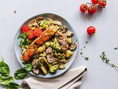 Mushroom Salmon Dish (ella.o) Tags: food eat plate cooking salmon mushrooms cooked prepared plated
