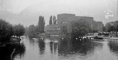 Factory by the river ? (vintage ladies) Tags: blackandwhite vintage portrait people photograph factory river boat blurred blurry