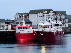 Fishing Boats Ready in Rorvik (David J. Greer) Tags: passage norway rubicon3 adventure sailing travel coastal sailtrainexplore norwegian sea ocean water grey day red fishing boats moored marina rorvik evening sky