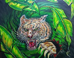 S H E R E -   K H A N (tomas491) Tags: tiger bananaplant power angry painting acrylic fantasy fantasypaintings action scar