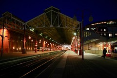 London Marylebone station shed on a summer's night