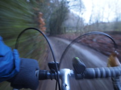 At the Top (cycle.nut66) Tags: olympus epl1 evolt micro four thirds mzuiko bike cycle cycling ride riding taken while moving movement hogtrough lane chiltern escarpment chilterns hiils winter woodlsnd trees blur drop bars lights mafac levers