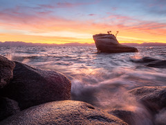 Bonsai Rock (v-_-v) Tags: bonsairock california usa unitedstates laketahoe water waves sunset explored