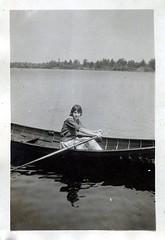 Muskoka 1922 (haunted snowfort) Tags: bessielouiserichardson bessiemilligan greatgreataunt aunt vintage oldphoto oldfamilyphoto bess stcatharines ontario antique auntbessie 1920s auntbess bessie richardson milligan classic blackandwhite bw blackwhite family familyphoto canada muskoka 1922 canoe lake paddling woman oars 22yearsold