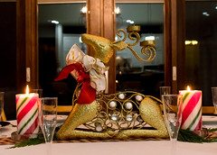 The golden reindeer (hoangphatngox) Tags: reindeer focus zoom lights candle canon t7i christmas table glass ribbons