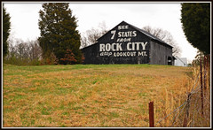 Rock City Barn - Explore #39 (Jerry Jaynes) Tags: tennesseeeasterweekend2013006edcf tn rockcitybarns timesgoneby fence post trees lookoutmountain grass barn farm nikkor1685vr explore