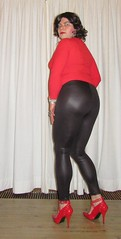 wetlook leggings with red top and pumps (Barb78ara) Tags: leggings tightleggings wetlook wetlookleggings leatherlook leatherlookleggings redheels strappyheels strappyredheels redpumps strappyredpumps redtop tightredtop highheels stilettohighheels stilettoheels highheelpumps