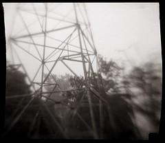 Towers (efo) Tags: bw film scenex plastic toycamera 828 pylon tower power tree blur