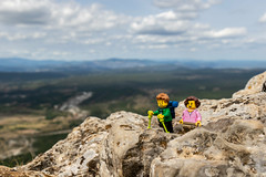 Hiking in the mountains (Ballou34) Tags: 2018 7dmark2 7dmarkii 7d2 7dii afol ballou34 canon canon7dmarkii canon7dii eos eos7dmarkii eos7d2 eos7dii flickr lego legographer legography minifigures photography stuckinplastic toy toyphotography toys cazevieille hérault france fr stuck in plastic hike mountain walk rocks height sky