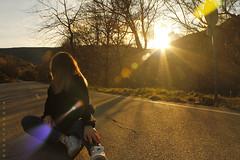 Capturing the last sunlight (Octubres rotos) Tags: sun sunset sunshine girl forest nature road light warm colours bokeh natural sol atardecer sundown dusk naturaleza carretera tree arbol canon1100d 1855 amateur leonesp spain león landscape portrait albapardoom