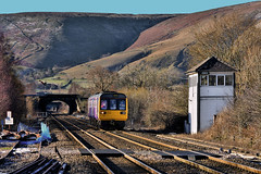 Sunny Edale (whosoever2) Tags: uk united kingdom gb great britain england nikon d7100 train railway railroad january 2019 edale derbyshire pacer northern rail class142 142021 manchester sheffield peakdistrict highpeak winter sun signal box semaphore mountain landscape