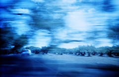 Mind travel (ale2000) Tags: analog analogue lomography lomography400 expired film 35mm pellicola filmisnotdead believeinfilm fotografiaanalogica blue blu blurred blurry sfuocato longexposure traveling road viaggio sicilia sicily castelvetrano inthecar
