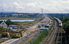 Work on the new CTRL continues apace as a 'Eurostar' passes on the classic route with a Paris-London Waterloo service  on 21August2001. Aldington, Kent. (mikul44171) Tags: ctrl adlington kent thirdrail tmst volvo ballast newline