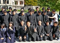 Japan: Hiroshima student visitors (Henk Binnendijk) Tags: hiroshima japan students schoolboys people hiroshimapeacememorial groupphoto