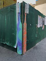 Giant Toothrbrushes (TheMachineStops) Tags: 2018 nyc newyorkcity manhattan chelsea giantoothbrushes toothbrush bristles corner publicart streetart graffiti iphone8 urbanart