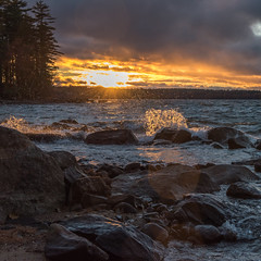stormy sebago (paul noble photography) Tags: maine mainephotographers sebagolake sebago sunset nikon newengland noble northeast nikon2470mmf28 nikond810 mainelandscape freelancephotographer standish water splash interestingness interesting images lake