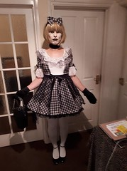 """Doll Of The Dead for a """"Day of the dead"""" costume party (Miss Nina Jay) Tags: trannie tights heels"""