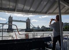 Thames Clippers (24hrLDN) (Spannarama) Tags: thames river london uk 24hrldn thamesclippers ferry boat blueskies clouds photo camera takingaphoto tourist towerbridge bridge man