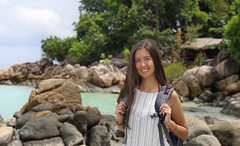 Samantha exploring paradise in the South Andaman Sea (B℮n) Tags: kolipe kohlipe เกาะหลีเป๊ะ kohlippy adangrawi archipelago ploysiam national park kohturatao koturatao kohlipeh nationalparkkohtarutao tarutao bounty island thailand andamansea sandy beach snorkling coral reef tropical fish nemo protectedarea palmtree coconuts crystal clear water seawater siam nature reserve province blue cyan thai deserted girl woman relax paradise swimming solitude jungle green lush forest path trail hiking portrait chareenahillbeachresort pattayabeach 50faves topf50 100faves topf100