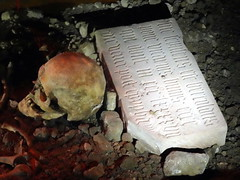 utrecht_8_094 (OurTravelPics.com) Tags: utrecht skull stone with inscriptions roman grave domunder exhibition under domplein square
