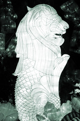 Merlion (Seeing Visions) Tags: 2018 unitedstates us losangelescounty la arcadia laarboretum moonlightforest chineselanternfestival night dark cloth light merlion mythical fishtail lionhead scales mane monochrome texture raymondfujioka