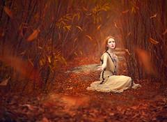 Waiting for Fall ({jessica drossin}) Tags: jessicadrossin portrait autumn fine art leaves orange red pretty woman