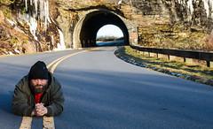 DSC_6461 (TDog54Photography / TCS Photography) Tags: thomas photographer bear beard hairy hair man mountains north carolina hat coat road blue ridge parkway tunnel 2017