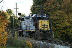 CSX2682-GP38-2_Northville-MI_10-26-2005a (Count_Strad) Tags: railroad track tracks emd ge gp382 c408w es44dc gp9r c449w sd40t2 plymouth melvindale northville mi michigan csx