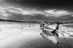 Morston at Low Tide, Mono. (andybam1955) Tags: quay landscape nationaltrust morston clouds coastal morstonquay sky northnorfolk rural boats norfolk sea