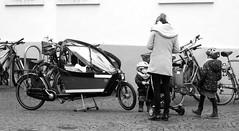 Cargo bike in preparation! - My hometown ! Oldenburg, Lower Saxony ( Niedersachsen ), Germany  - in the pedestrian zone ! (tusuwe.groeber) Tags: street strase shot photographing aufnahme ablichtung oldenburg sony nex7 lowersaxony niedersachsen germany deutschland fusgängerzone pedestrianzones rad fahrrad räder fahrräder bicycle bike velo schwarz weis black white sw bw blanco negro fiets humanpoweredvehicle lastenrad transportrad freightbicycles carriercycles cargobikes boxbikes cycletrucks