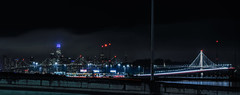 eisenhower highway ramps (pbo31) Tags: eastbay alamedacounty nikon d810 color night dark black january 2019 boury pbo31 sanfrancisco city urban skyline baybridge 80 easternspan sas salesforce lightstream traffic motion roadway panoramic large stitched panorama over emeryville baystreet toll plaza