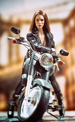 Harley 4 (Mr Action Figure) Tags: 16scale phicen tbleague seamless seamlessfigure female femalefigure brunette harleydavidson motorcycle bike leather brooklyn chopper hat sexy boots chrome hottoys verycooltoys doll toy jamesdean leatherjacket