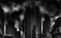 Tiny foldable cities (Philip L Hinton A.R.P.S.) Tags: london skyscape mono bw city nikon l textured